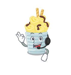 charming ice cream banana rolls cartoon character vector image