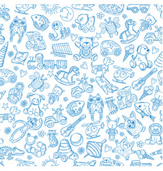 Children with toys seamless pattern vector