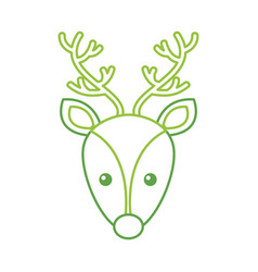 christmas reindeer head horned animal decoration vector image