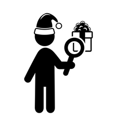 Christmas Shopping Man Search Gifts Flat Black vector
