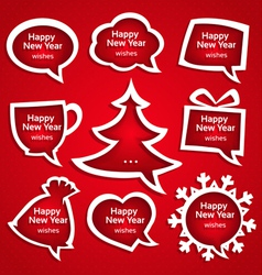 Christmas speech bubles set various shapes with vector