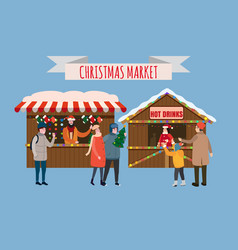 Christmas stalls with with souvenirs and hot vector