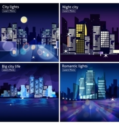 City Nightscape Icon Set vector image