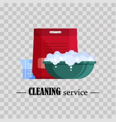 cleaning service flat plastic basin with soap vector image