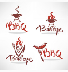 Collection of bbq logo labels symbols and vector