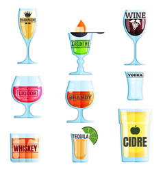 collection various drinks and glasses vector image