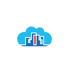 colorful building in townhouse inside a big cloud vector image