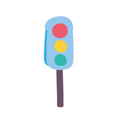 colorful traffic light object to urban caution vector image