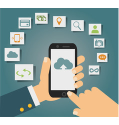 Concept of cloud services on mobile phone vector