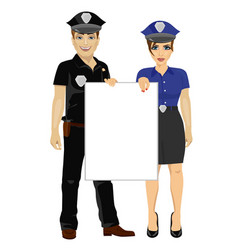 couple of police people holding empty blank board vector image