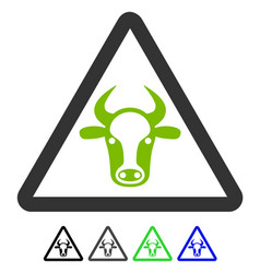 Cow danger flat icon vector