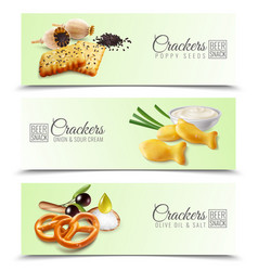 Crackers realistic horizontal banners vector