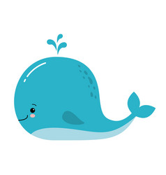 cute amusing blue whale prints image vector image