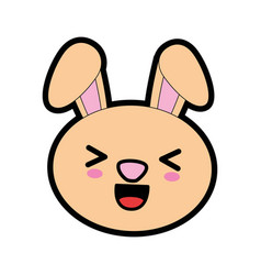 cute bunny kawaii cartoon vector image