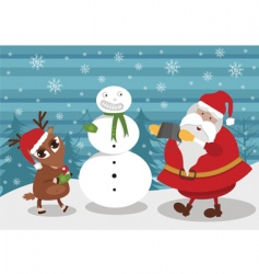 deer and santa making snowman vector image