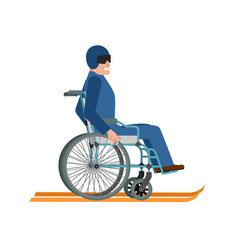 Disabled skiing isolated wheelchair ski running vector