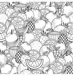 doodle fruits black and white seamless pattern vector image