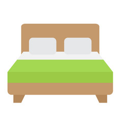 Double bed flat icon furniture and interior vector