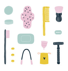 eco friendly bathroom kit zero waste toiletries vector image