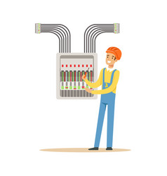 electrician engineer screwing equipment in fuse vector image