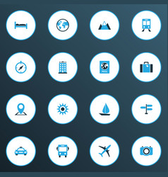 Exploration icons colored set with landscape vector
