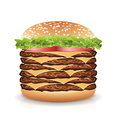 Fast food realistic burger big burger icon vector