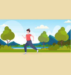 fat obese woman jogging overweight girl running vector image