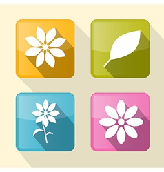 Flower Retro Square Icons vector