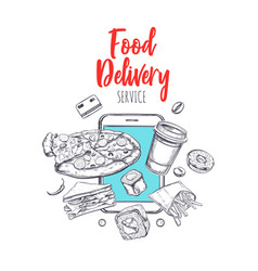 food delivery concept banner vector image