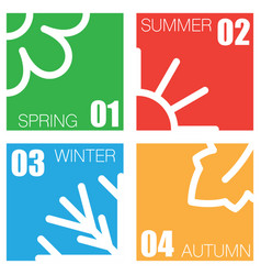 Four nature seasons squares vector