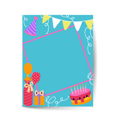 Gift boxes happy birthday in a4 size vector