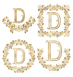 golden d letter ornamental monograms set heraldic vector image