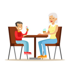 Grandmother and a boy eating ice-cream part of vector