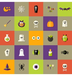 Halloween Square Flat Icons Set vector