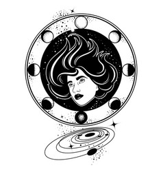 Hand drawn surreal of woman with planets surreal vector