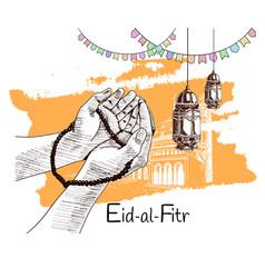 Hand praying lantern ribbon drawn on white vector