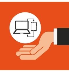 hands businessman data laptop smartphone vector image