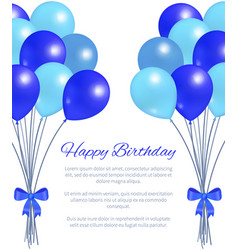 happy birthday greeting card balloons big bundle vector image