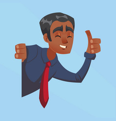 happy businessman male dark skin with thumbs up vector image