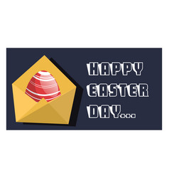 happy easter day card with red egg web on a white vector image