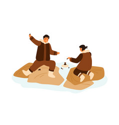 happy eskimo teenagers playing game having fun vector image