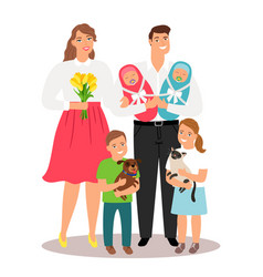 Happy family with new born twins and pets vector