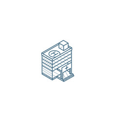 hospital building isometric icon 3d line art vector image