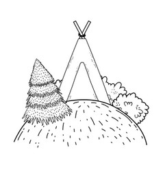 Indian camping tent in the landscape vector