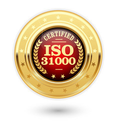 iso 31000 certified medal - risk management vector image