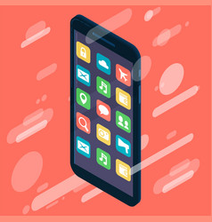 isometric design smartphone device icon with vector image