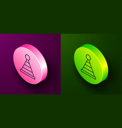 Isometric line party hat icon isolated on purple vector