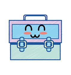 kawaii cute happy suitcase design vector image