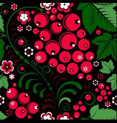 Khokhloma seamless pattern in slavic folk style vector