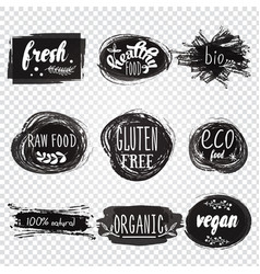 Labels with vegetarian and raw food diet designs vector